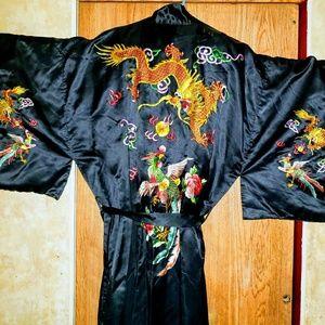Vintage Chinese Komono black robe
